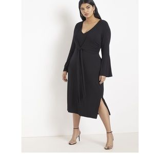 Eloquii Tie Waist Flare Sleeve Midi Dress Size 14